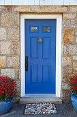 blue door with door knocker, stone doormat and potted plants. Vertical