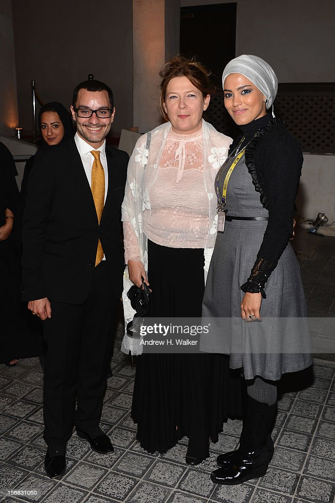 Resident Filmmaker and Programmer at DF Chadi Zeneddine (L) and DFI Head of International Programming Ludmila Cvikova (C) and attend the Awards Ceremony at the Al Rayyan Theatre during the 2012 Doha Tribeca Film Festival on November 22, 2012 in Doha, Qatar.