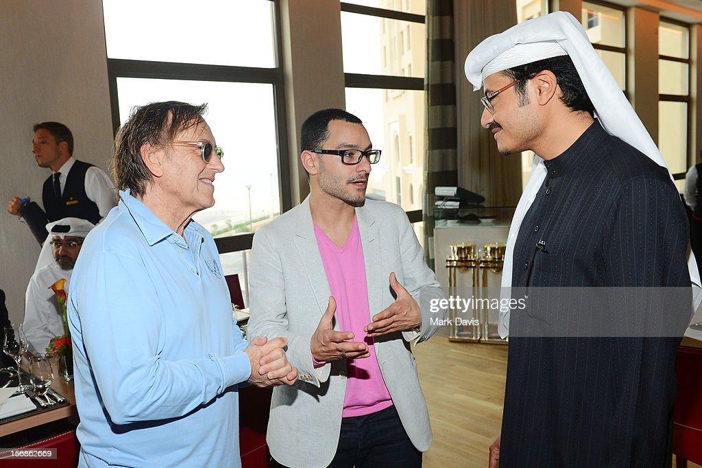 Resident Filmmaker and Programmer at DF Chadi Zeneddine (L) and Doha Film Institute CEO Abdulaziz Bin Khalid Al-Khater attend the Awards Lunch during the 2012 Doha Tribeca Film Festival at St Regis Hotel on November 23, 2012 in Doha, Qatar.