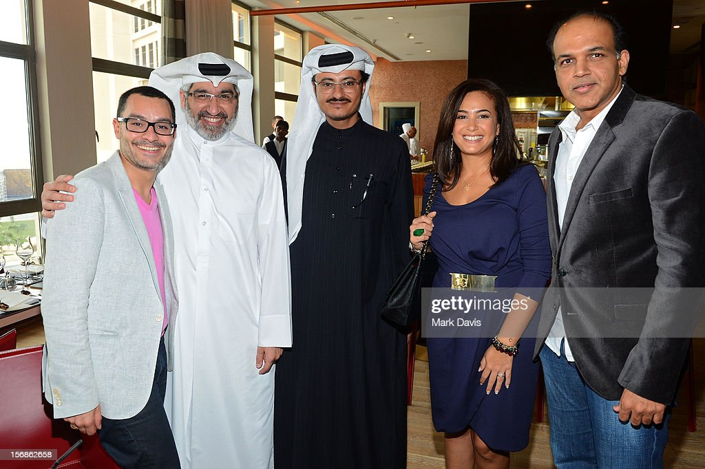 Resident Filmmaker and Programmer at DF Chadi Zeneddine, with jury member Dr Emad Amralla Sultan,Doha Film Institute CEO Abdulaziz Bin Khalid Al-Khater,Jury President Hend Sabry and Ashutosh Gowariker attend the Awards Lunch during the 2012 Doha Tribeca Film Festival at St Regis Hotel on November 23, 2012 in Doha, Qatar.