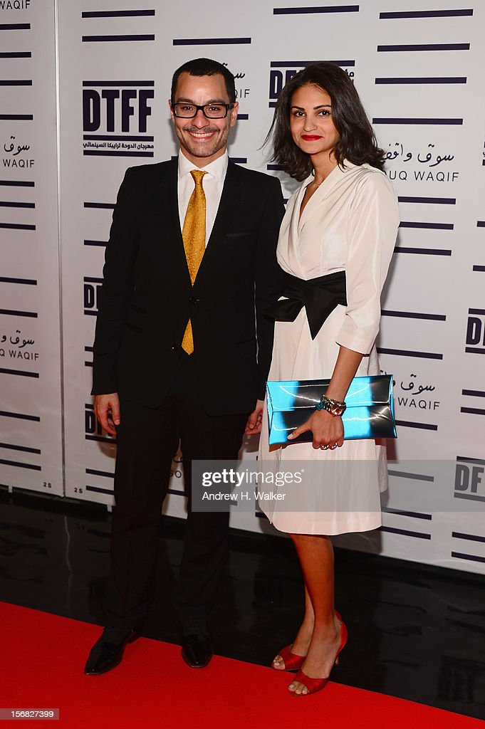 Resident Filmmaker and Programmer at DFI Chadi Zeneddine and Director/actress Ahd attends the Awards Ceremony at the Al Rayyan Theatre during the 2012 Doha Tribeca Film Festival on November 22, 2012 in Doha, Qatar.