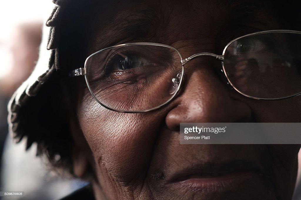 Resident Jasie Kinard waits to get into a school to see Democratic presidential candidate Hillary Clinton speak in South Carolina a day after her debate with rival candidate Bernie Sanders on February 12, 2016 in Denmark, South Carolina. Clinton is counting on strong support from the African American community in South Carolina to give her a win over Sanders in the upcoming primary on February 27.