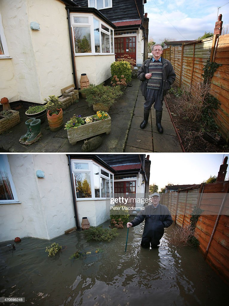 In this composite image a comparison has been made between Resident Kenneth Keeble standing in his garden in Wraysbury photographed on (Top) February 19, 2014 and (Bottom) on February 11, 2014. WRAYSBURY, UNITED KINGDOM - FEBRUARY 19: Resident Kenneth Keeble stands in his garden now clear of flood water on February 19, 2014 in Wraysbury, England. Parts of Surrey and Berkshire that flooded last week have seen a rapid drop in water levels.