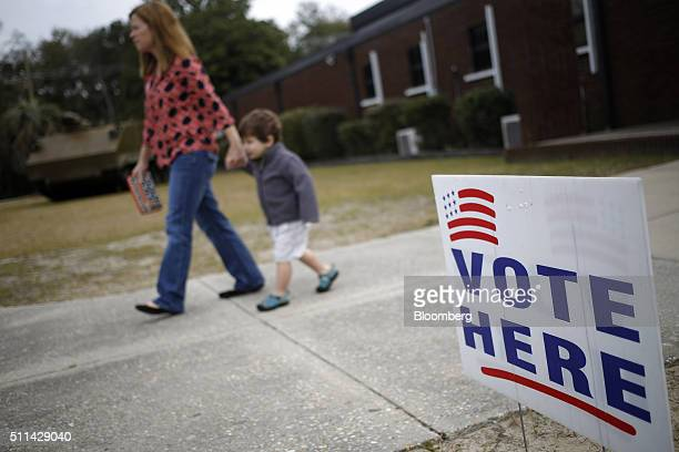 A resident leaves after voting in the South Carolina Republican presidential primary election at a polling station inside the South Carolina National...