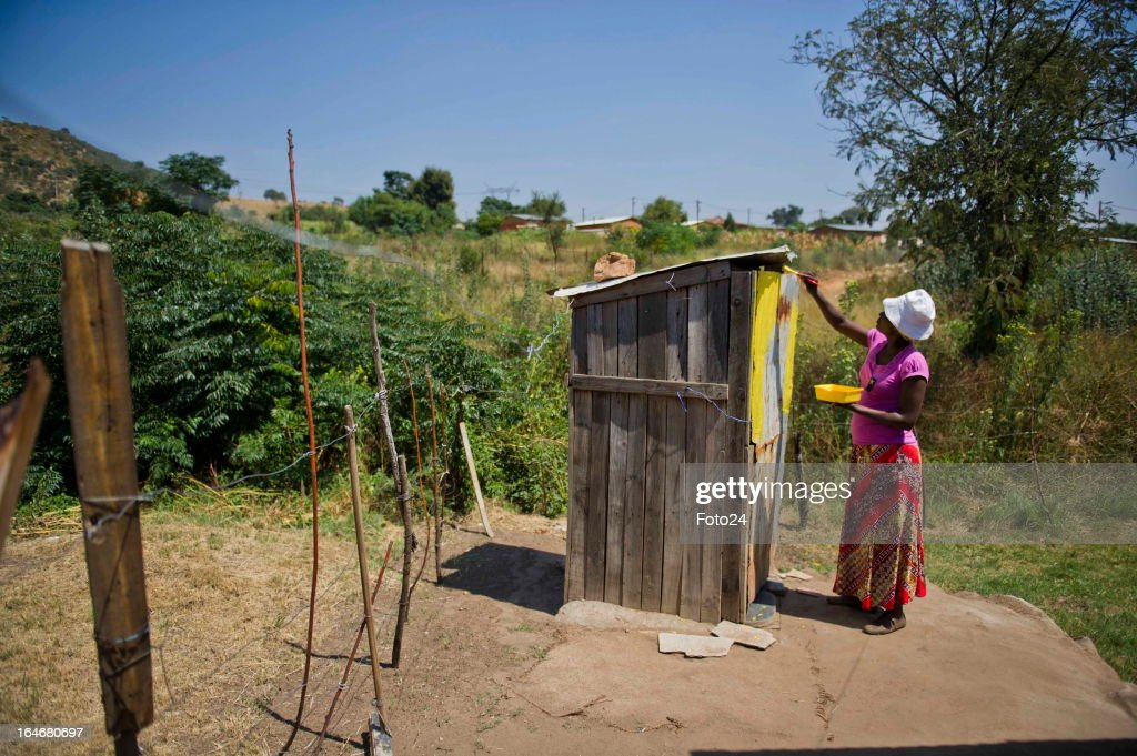 A resident paints a shack at the Alaska Informal settlement on March 24, 2013 in Mamelodi, South Africa. The Viva Foundation hosted the second Mams Art Festival at the informal settlement over the weekend. The art festival focuses on creating the world's first living art gallery by transforming shacks into art work.