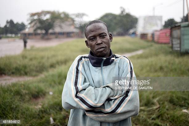 A resident poses on July 8 2014 in the Fatima area of Bangui French Defence minister JeanYves Le Drian said on July 8 2014 that 'there is no future...
