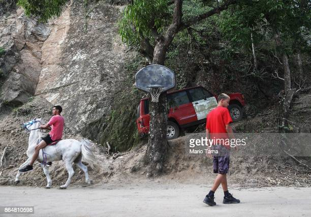 A resident rides a horse along a road that was hit by a mudslide during Hurricane Maria on October 21 2017 in Utuado Puerto Rico Yesterday marked the...