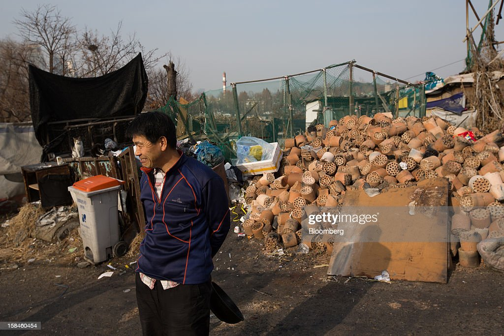 A resident stands in front of a pile of used coal briquettes in Guryong village in the Gangnam district of Seoul, South Korea, on Sunday, Dec. 16, 2012. South Koreans vote on Dec. 19 to replace President Lee Myung Bak, whose five-year term ends in February. Photographer: SeongJoon Cho/Bloomberg via Getty Images