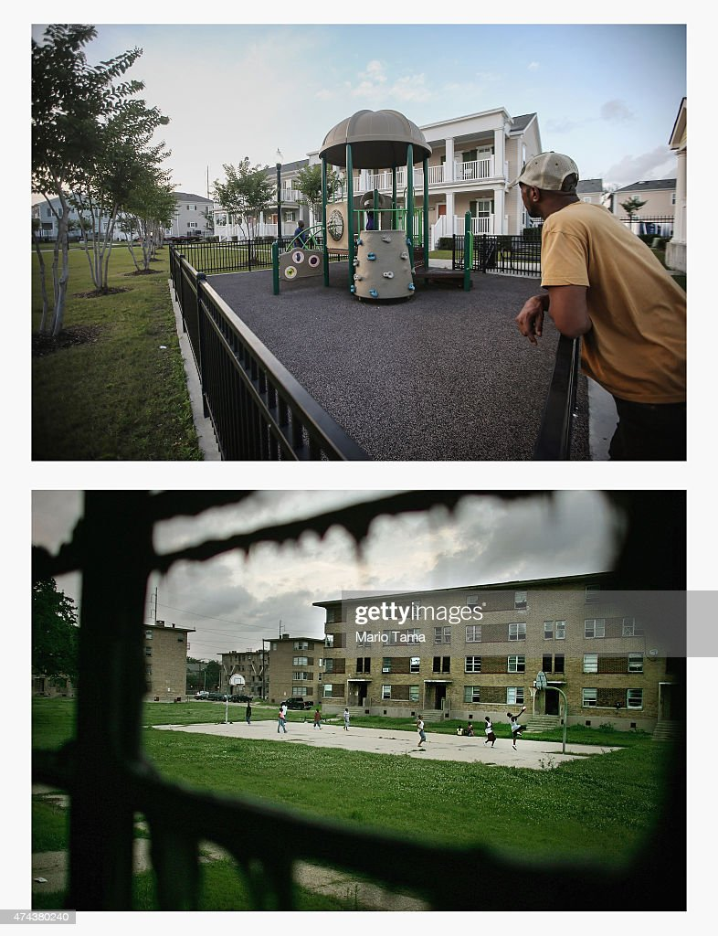 A resident stands in the Marrero Commons housing development at the location where a BW Cooper housing project basketball court once stood on May 17...