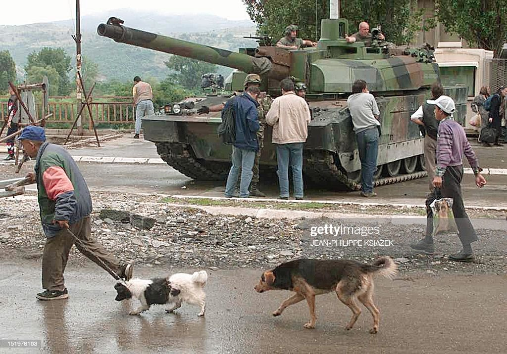 resident-walks-with-his-dogs-past-a-french-leclerc-tank-18-june-1999-picture-id151978163