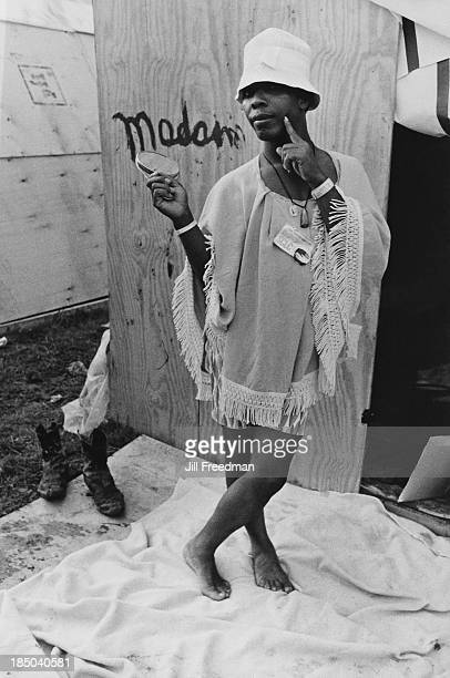 A resident wearing a kaftan poses in Resurrection City a three thousand person tent city on the Washington Mall set up as part of the Poor People's...