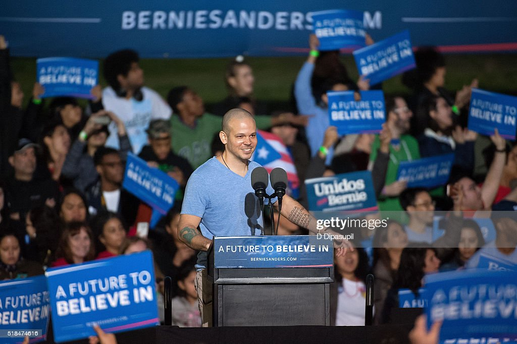 Residente of Calle 13 speaks onstage at a campaign event for 2016 Democratic presidential candidate U.S. Senator Bernie Sanders (D-VT) at Saint Mary's Park on March 31, 2016 in New York City.