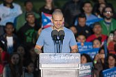 Residente of Calle 13 speaks onstage at a campaign event for 2016 Democratic presidential candidate US Senator Bernie Sanders at Saint Mary's Park on...
