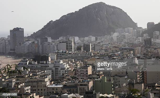 Residential and commercial properties stand in Copacabana on October 20 2015 in Rio de Janeiro Brazil Residential real estate prices dropped in...