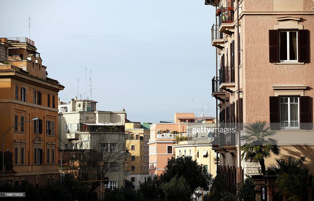 Residential apartment blocks stand in the Parioli district of Rome, Italy, on Wednesday, Jan. 2, 2013. Italian property sales often are reported to be less than the actual price paid to reduce taxes or skirt controls on money laundering, according to the website of the finance police, which reports to Italian Finance Minister Vittorio Grilli. Photographer: Alessia Pierdomenico/Bloomberg via Getty Images
