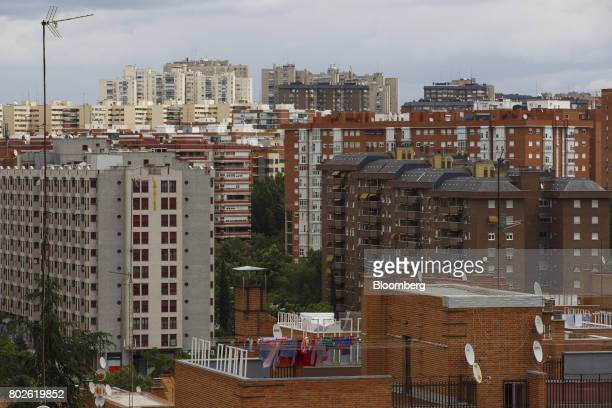 Residential apartment blocks stand on the city skyline in Madrid on Wednesday June 28 2017 Bankia SA agreed to acquire Banco Mare Nostrum SA in an...