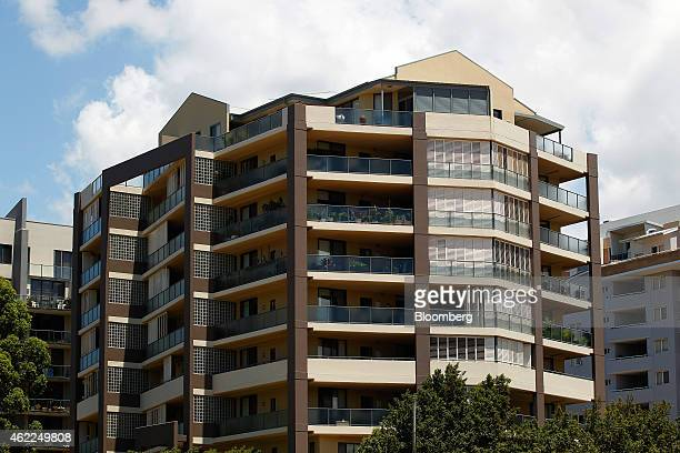 A residential apartment building stands in the suburb of Waitara in Sydney Australia on Saturday Jan 24 2015 In Sydney a shortage of supply combined...