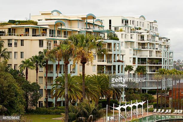 Residential apartment buildings stand in the suburb of Wollstonecraft in Sydney Australia on Saturday Oct 18 2014 Sydneys median home price rose 14...