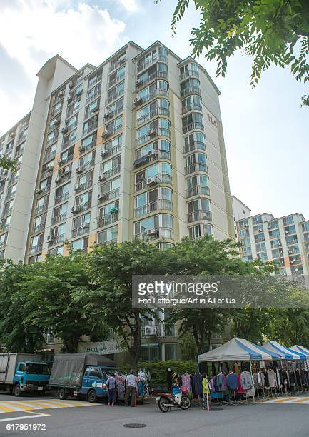 Residential apartments in yangcheong yangcheong where many north korean defectors live national capital area seoul South Korea on June 1 2016 in...