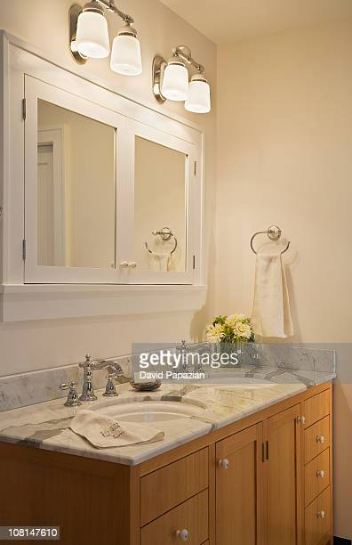 Residential bathroom with double vanity
