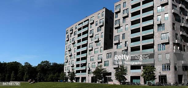 Residential buildings facing a parkland near Potsdamer Platz, Berlin, Germany