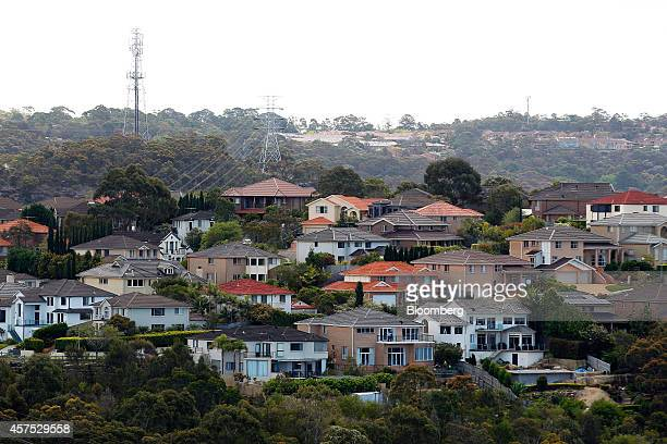 Residential buildings sit among trees in the suburb of Frenchs Forest in Sydney Australia on Saturday Oct 18 2014 Sydneys median home price rose 14...