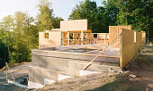 Residential construction site panorama with pool