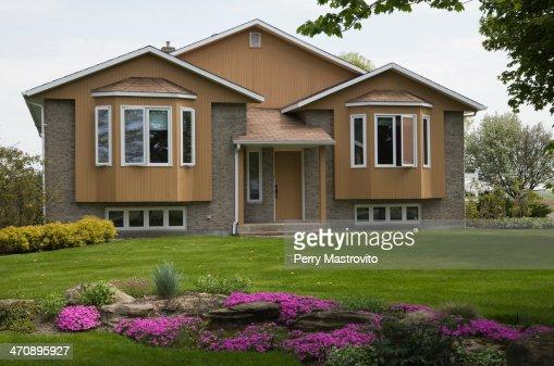 residential home and garden quebec canada stock photo
