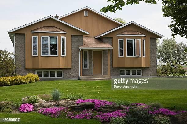 Residential home and garden, Quebec, Canada