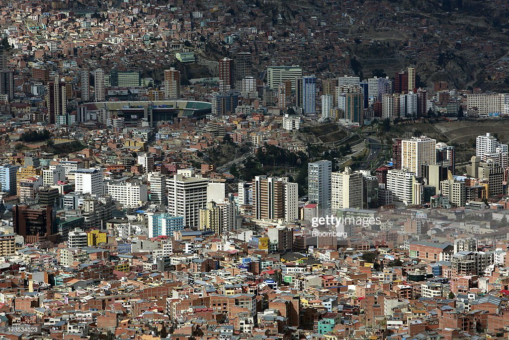 Residential homes and commercial buildings stand in this elevated view of La Paz Bolivia on Monday July 8 2013 Central bank President Marcelo...