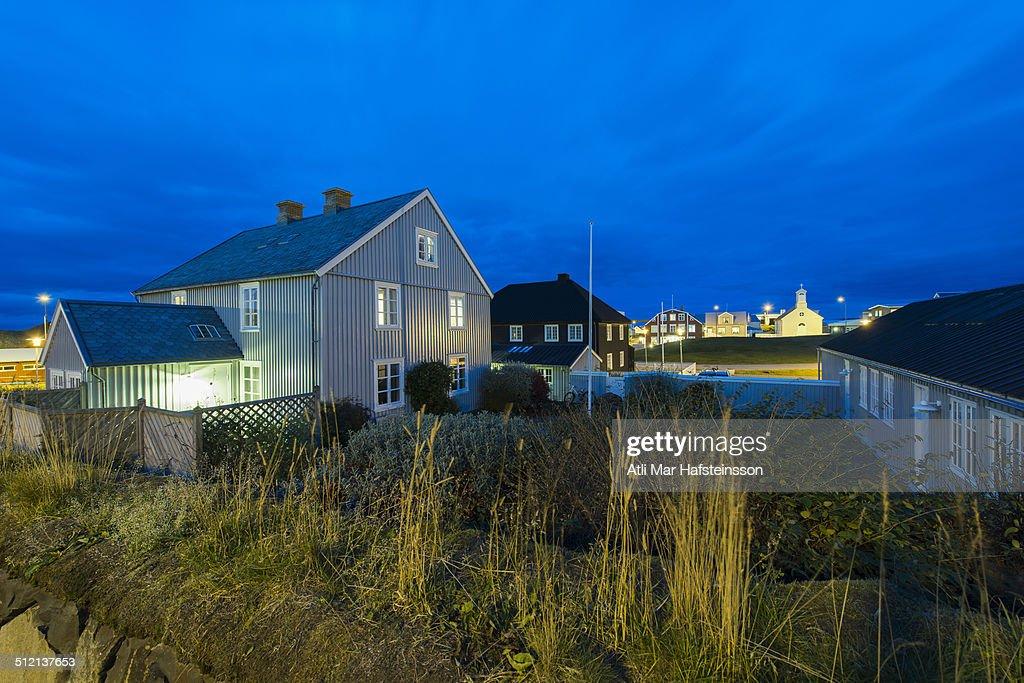 Residential homes at dusk, Stykkisholmur, Snaefellsnes, Iceland