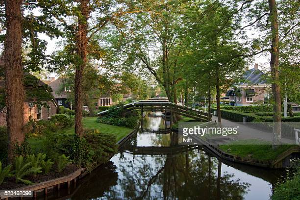 Residential Houses and Bridge In Giethoorn Village