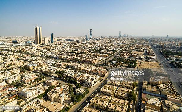 Residential housing and skyscrapers stand on the city skyline in Riyadh Saudi Arabia on Saturday Jan 9 2016 Saudi Arabian stocks led Gulf Arab...