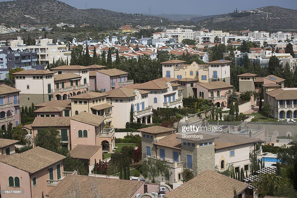 Residential housing stands on the skyline in Limassol, Cyprus, on Wednesday, March 27, 2013. The ECB said on March 25 it won't stop the Cypriot central bank from providing the island's banking sector with emergency funding. Photographer: Simon Dawson/Bloomberg via Getty Images