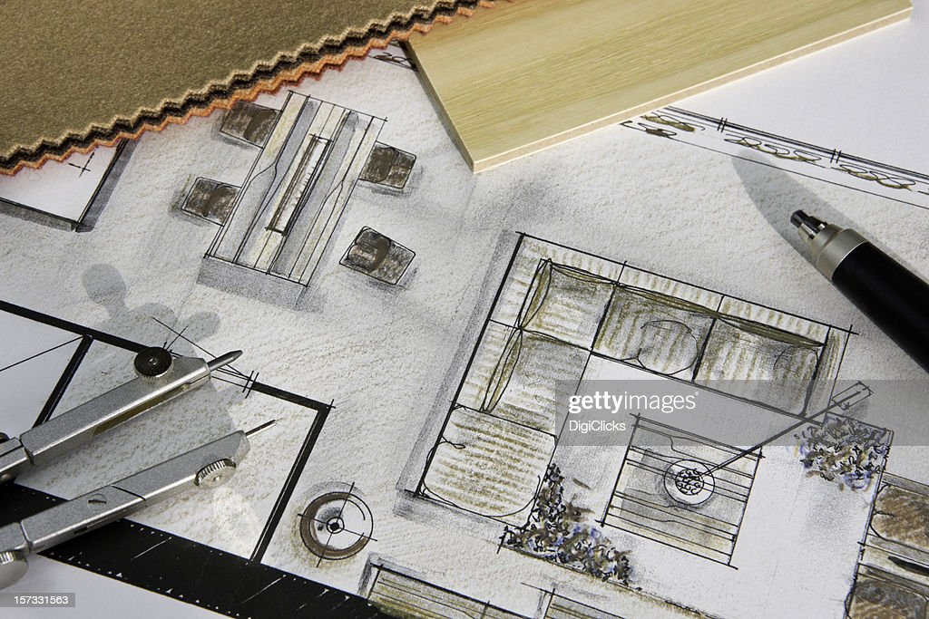 Residential Interior Design Concept Stock Illustration