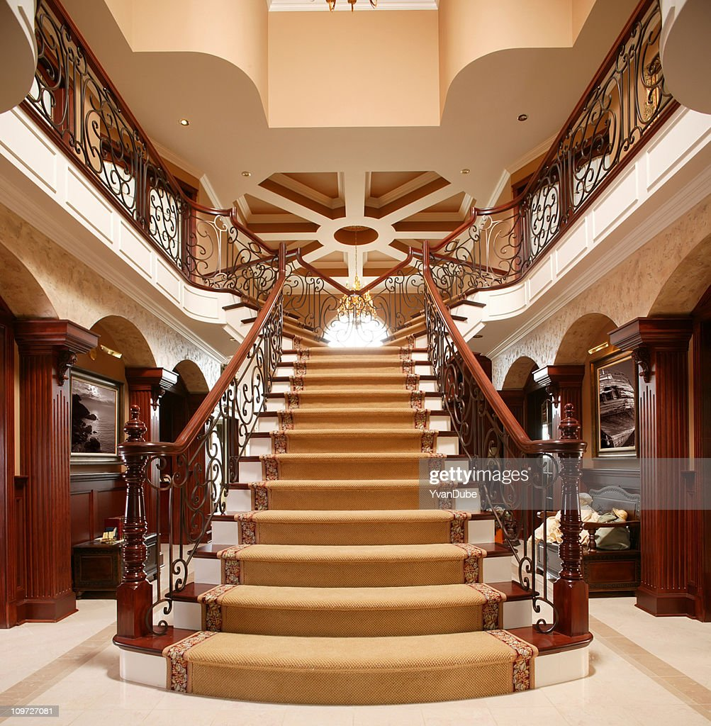 residential Luxury stairway in home entrance : Stock Photo