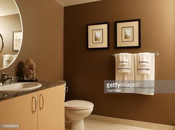residential Modern bathroom with frames and towels