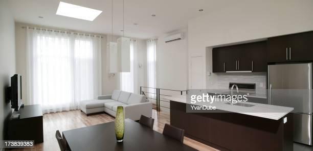 Résidentiel cuisine moderne et salle de séjour