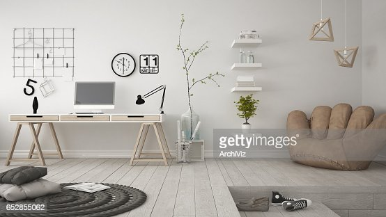 Residential multifunctional room with home office, workplace, scandinavian minimalist interior design : Stock Photo