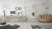 Residential multifunctional room with home office, workplace, scandinavian minimalist interior designResidential multifunctional loft with home office workplace, scandinavian minimalist interior desig