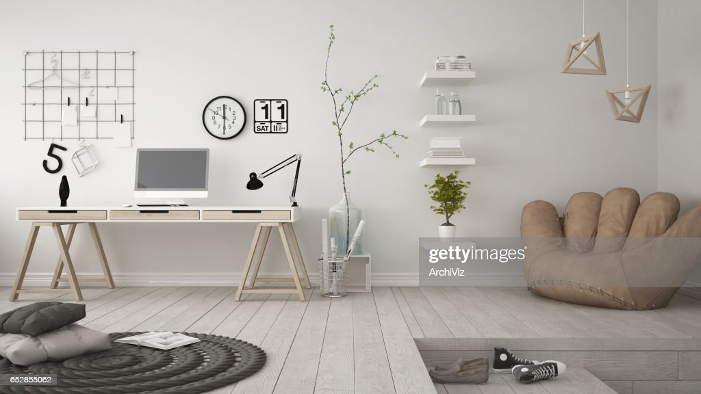 Residential Multifunctional Room With Home Office, Workplace, Scandinavian  Minimalist Interior Design : ストックフォト
