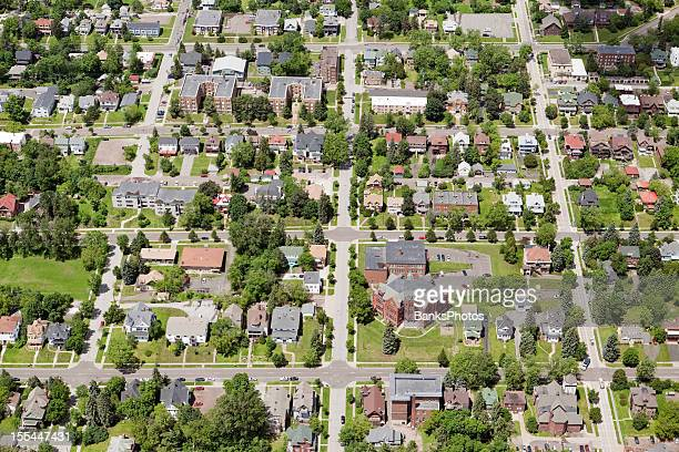Residential Neighborhood Aerial with Homes and Buildings