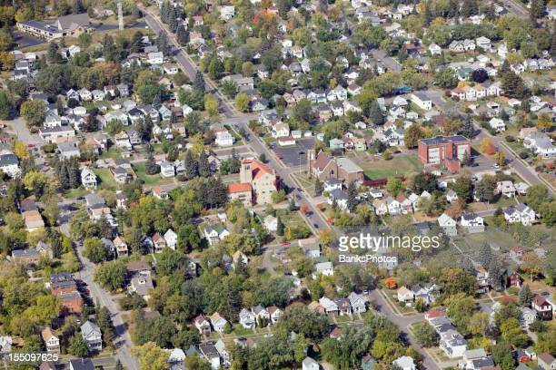 Residential Neighborhood Aerial with Homes, Churches and a School