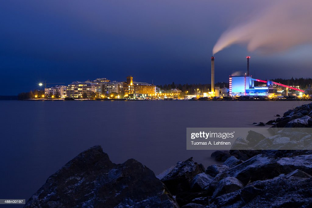Residential neighbourhood & a colorful power plant