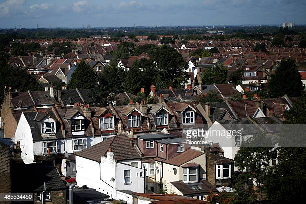 Residential properties stand in the Thornton Heath neighbourhood and surrounding areas of London UK on Friday Aug 28 2015 The fastestrising...
