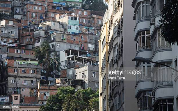 Residential properties stand on October 20 2015 in Rio de Janeiro Brazil Residential real estate prices dropped in Brazil's top 20 cities in August...