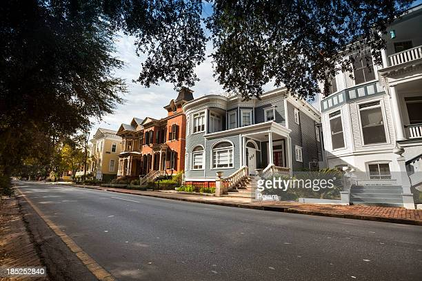 Residential street in downtown Savannah Georgia
