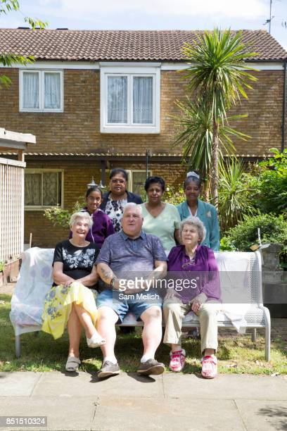Residents at Denby Court in the London Borough of Lambeth on 3rd August 2016 in London United Kingdom Denby Court is a sheltered housing estate for...