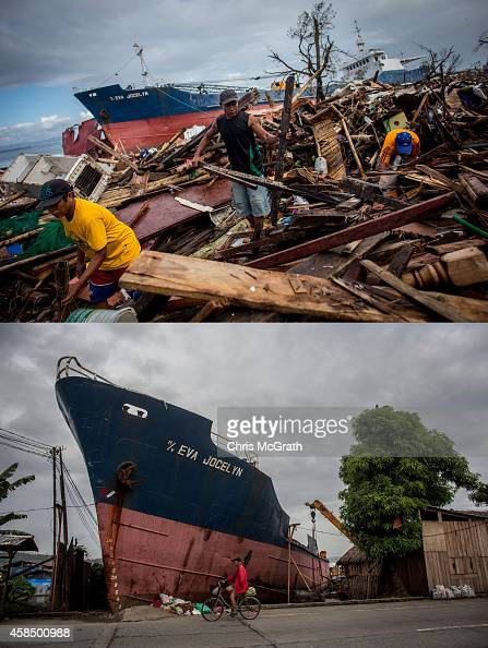TACLOBAN LEYTE PHILIPPINES NOVEMBER 04 In this beforeandafter composite image LEYTE PHILIPPINES NOVEMBER 17 Residents clear debris away following the...