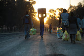 Residents come back home with groceries after two days of service delivery protests on July 22 in Meyerton ahead of August 3 municipal elections /...